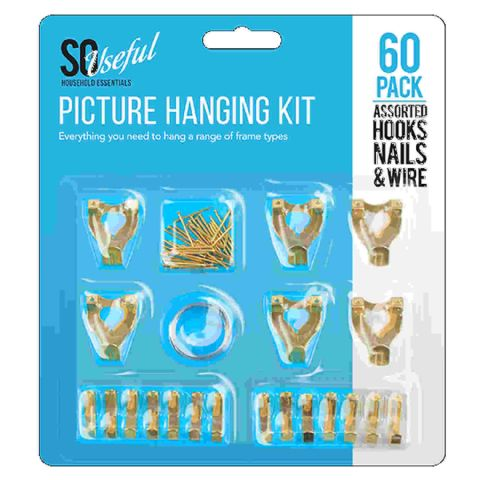 Pack 60 Brass Picture Hanging Hooks Nails & Wire Kit